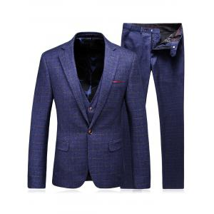 Single Breasted Checked Three-Piece Suit ( Blazer + Waistcoat + Pants ) - Blue - L