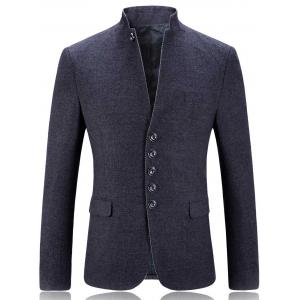 Single Breasted Stand Collar Slim Fit Blazer - Gray - 2xl