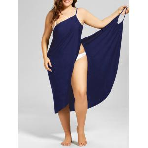Beach Cover-up Plus Size Wrap Dress - Purplish Blue - 2xl