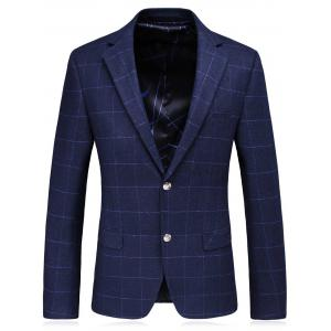 Single Breasted Lapel Plaid Slim Fit Blazer