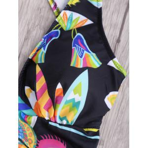 One Piece Floral Criss Cross Backless Swimsuit - Multicolore S