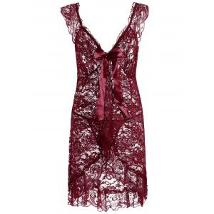 Plunging Neck Lace See Thru Plus Size Babydoll - Wine Red - 5xl