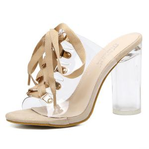 Tie Up Transparent Plastic Slippers - Abricot 39