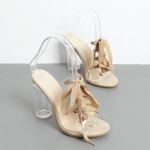 Tie Up Transparent Plastic Slippers - Abricot 37