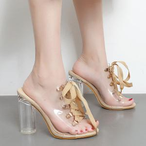 Tie Up Transparent Plastic Slippers - Apricot - 38