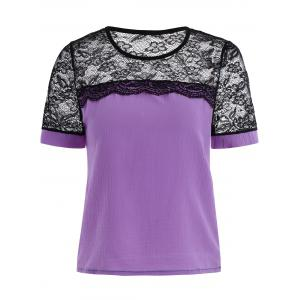 Short Sleeve Chiffon Lace Trim Top