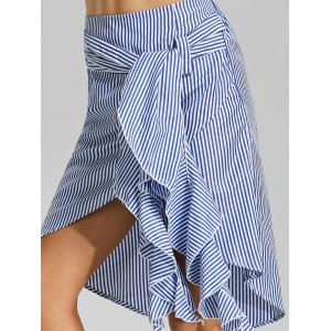 Belted Striped Asymmetric Skirt - BLUE S