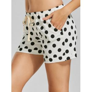 Drawstring Mini Polka Dot Shorts - Black Dot Pattern - One Size