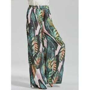 Wide Leg Leaf Trapical Print Exumas Pants