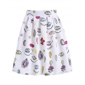 Knee Length Printed A Line Skirt