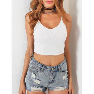 Lace Insert Backless Cami  Top - WHITE S