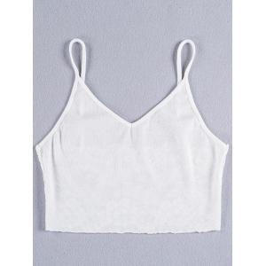 Lace Insert Backless Cami Top - Blanc S