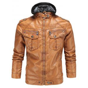 Hooded Flocking Faux Leather Biker Jacket