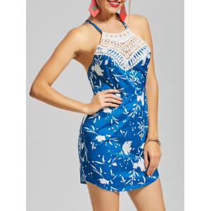 Crochet Printed Backless Mini Dress