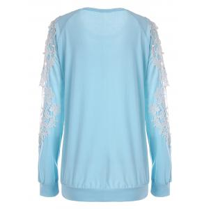 Hollow Out Lace Raglan Sleeve Sweatshirt -