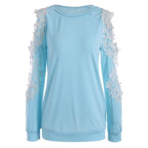 Hollow Out Lace Raglan Sleeve Sweatshirt