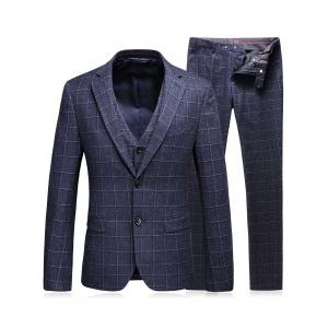 Single Breasted Plaid Three-Piece Suit ( Blazer + Waistcoat + Pants ) - Deep Gray - L