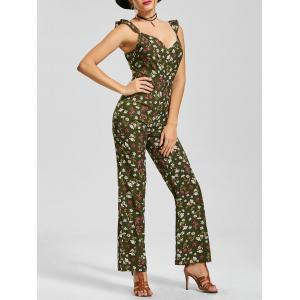 V Neck Tiny Floral Boot Cut Jumpsuit - Army Green - Xl