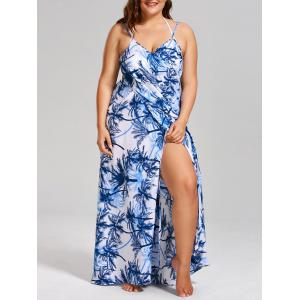 Coconut Tree Print Plus Size Cover Up Dress