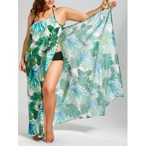 Palm Leaf Print Plus Size Maxi Cover Up Dress - Green - 3xl