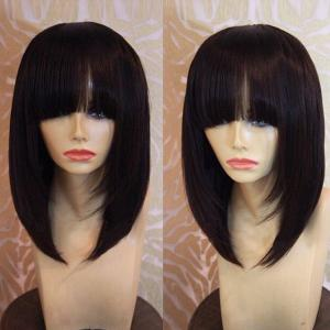Medium Neat Bang Straight Bob Synthetic Wig