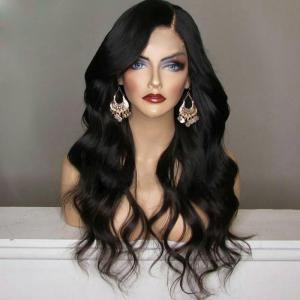 Long Shaggy Side Part Wavy Synthetic Wig - Black - 28inch