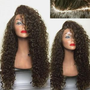 Long Deep Side Part Shaggy Kinky Curly Synthetic Wig - Brown