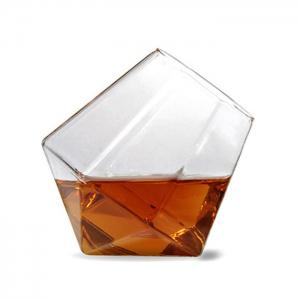 Transparent Glass Diamond Shaped Cup - TRANSPARENT