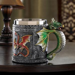Novelty Stainless Steel 3D Dragon Mug -