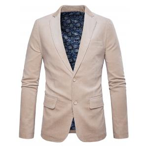 Elbow Patch Single Breasted Corduroy Blazer - Off-white - M