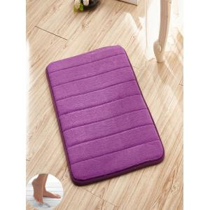 Slow Rebound Memory Coral Fleece Striped Door Mat - Purple - W24 Inch * L35.5 Inch