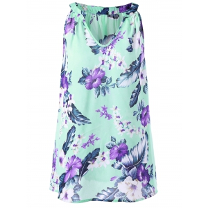 Plus Size V Neck Floral Tent Blouse
