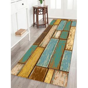 Vintage Wood Floor Pattern Indoor Outdoor Area Rug - Turquoise - W24 Inch * L71 Inch