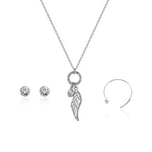 Angel Wing Necklace Earrings with Bracelet Set - Silver
