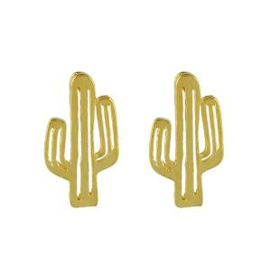 Metal Alloy Cactus Stud Earrings