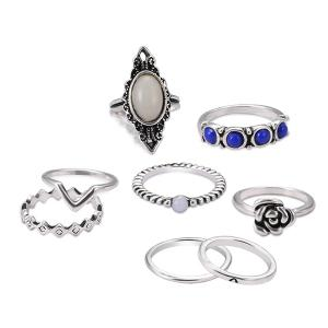 Artificial Opal Oval Flower Ring Set - Silver - One-size