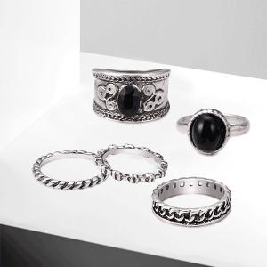 Engraved Oval Circle Vintage Ring Set -