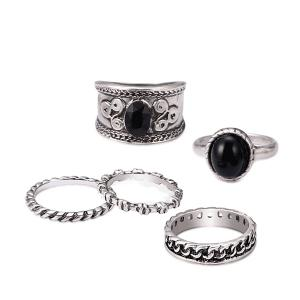 Engraved Oval Circle Vintage Ring Set