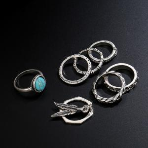 Faux Turquoise Alloy Feather Bohemian Ring Set -