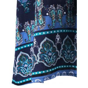 Plus Size Lace Trim Bohemian Tribal Print Top - DEEP BLUE XL