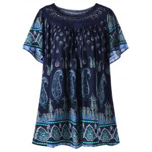 Plus Size Lace Trim Bohemian Tribal Print Top - Deep Blue - 2xl