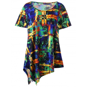 Plus Size Multi All-printed Long Asymmetric T-shirt