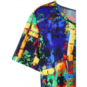 Plus Size Multi All-printed Long Asymmetric T-shirt -