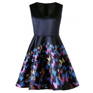 Plus  Size Butterfly Print Fit and Flare Dress - Black - 5xl