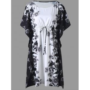 Plus Size Floral Batwing Sleeve Drawstring Dress - Black - 3xl
