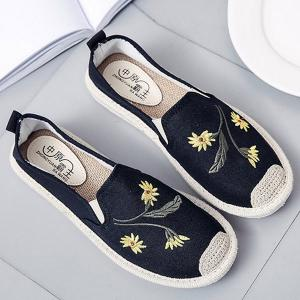 Embroidery Canvas Flat Shoes - Black - 40