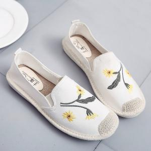 Embroidery Canvas Flat Shoes - Off-white - 38