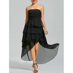 Maxi High Low Flounce Chiffon Bandeau Prom Dress - Black - Xl
