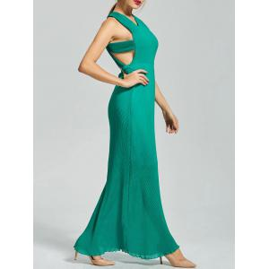Backless Pleated Cut Out Long Maxi Dress - Green - Xl