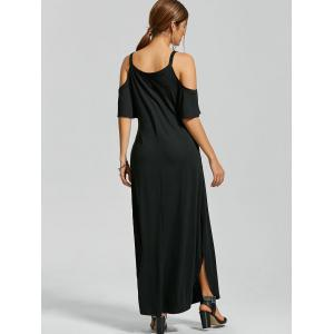 Slit Pockets Maxi Cold Shoulder Dress - BLACK 2XL